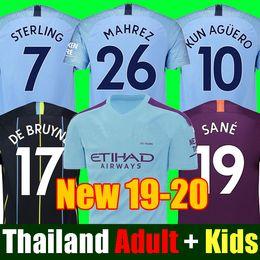 b2abb6cd4 Thailand JESUS DE BRUYNE KUN AGUERO manchester soccer jerseys city 2019 2020  SANE jersey 18 19 20 football KIT Top shirt adult and kids set