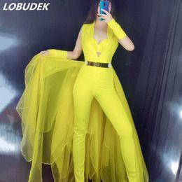 Moda Com Decote Em V Sem Mangas Trailing Jumpsuit Nightclub Desempenho Leotard Lady Cantora Host Stage Costume Show de Festa de Dança Outfit de