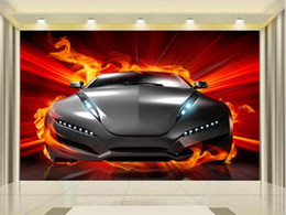 Tableau des tailles enfants en Ligne-custom size 3d photo wallpaper kids room mural Burning sports car Flame Chart 3d picture sofa TV backdrop wallpaper non-woven wall sticker