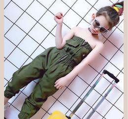 Koreanische grüne hose online-Mädchen Green Fashion Overalls 2019 Sommer neue elastische Taille koreanischen Stil siamesische Hose Tube Top Hosen Kinder Onesies Ws841