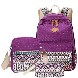 nette rucksäcke für high school Rabatt 3 teile / satz Polka Dot Printing Frauen Rucksack Nette Leinwand Bookbags Mittleren Highschool Taschen für Teenager Mädchen # 252344