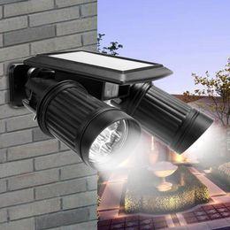 movimento do foco solar Desconto Luz de Sensor solar de Movimento Ao Ar Livre Duplo Holofotes 14 LED Cabeça Dupla À Prova D 'Água Rotatable Solar Powered Luzes de Segurança para Pátio Jardim
