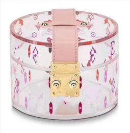 Transparente pvc box süßigkeit online-2019 neue heiße Modedesigner-transparente Handtaschen-rote weiße Süßigkeits-Geschenkbox PVC-Eimer-Umhängetaschenabendessen-Frisierbeutelseidenschalkasten