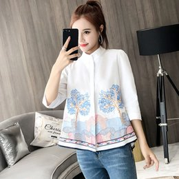 Korean Stand Collar Long Sleeve Blusas Fashion Embroidery White Shirts  Spring New Womens Tops and Blouses 92b32cc23