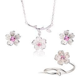 collana di fiori di ciliegio Sconti 2019 Set di gioielli da sposa 925 Sterling Silver Pink Crystal Cherry Blossoms Flower Collane Orecchini Anelli per le donne