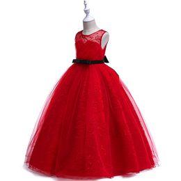 vestido largo sin mangas de satén rojo Rebajas 1 unids Niñas bordado rojo sin tirantes largo vestido de bola del vestido de boda de los niños de lujo elegante palabra de longitud del partido de baile vestido para ocasiones formales