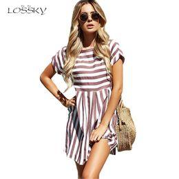 Lossky mujeres playa de verano una línea de rayas de manga corta con cuello en O vestidos de impresión Casual Pink Mini vestido estilo vestido atractivo Sundress Q190517 desde fabricantes