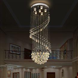 Lange rostfreie kronleuchter online-Moderne Kristall-Kronleuchter LED-Kristall lange Treppe Indoor Edelstahl K9 Kristall-Lampen Hotelhalle Beleuchtungskörper