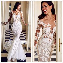 2019 robe de mariée taille plus Sirène Dentelle Sexy 2019 Robes De Mariée Col Sheer Manches Longues Illusion Arabe Robes De Mariée Robes De Mariage Vintage