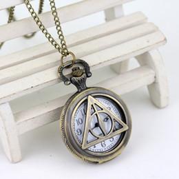 Relógio dourado on-line-Luxo Superior Liso Colar relógio de bolso Pomo de Ouro Bola de quartzo relógio de bolso antigo Relíquias da Morte