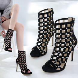 23b1d93f1f354 Rhinestone Hollow High Heel Sandals Peep Toe Crystal Ankle Wrap Diamond  Gladiator Women Sandals Zip Woman Sexy Black Shoe