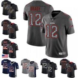 2019 jersey patriota negro 11 Julian Edelman 12 Tom Brady Patriot 2019 Saludo al Servicio de la acometida de Impacto EE.UU. Bandera Gris humo Negro estático Moda / Gold City jerseys