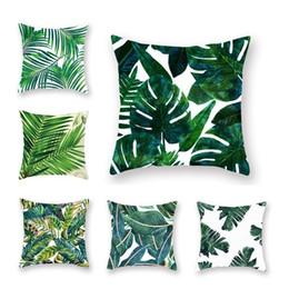 Cojines tropicales online-Las plantas tropicales de almohada cubierta de poliéster Las almohadas decorativas hojas verdes Throw almohada cuadrado de 45 * 45 cm Decoración seguridad Cojín
