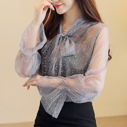 49c07cfca2a7 Fashion Women tops and Blouses 2018 Long Sleeve Lace women Blouse Shirt Bow  V-neck Sexy Bright Silk Lace Shirt Women 0791 30