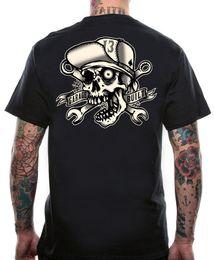 Fortunati motocicli online-Lucky 13 Shirt Skull Bro Hot Rod Tattoo Motociclista Socal Bones Black T-shirt Uomo Premium manica corta Girocollo Cotton Big Size Team