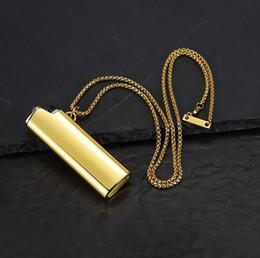 2019 coolsten feuerzeuge Mens Cool BJC J3 Bunte Feuerzeug Shell Anhänger Halskette Gold Silber Regenbogen Feuerzeuge Form Anhänger mit 70cm Kette rabatt coolsten feuerzeuge