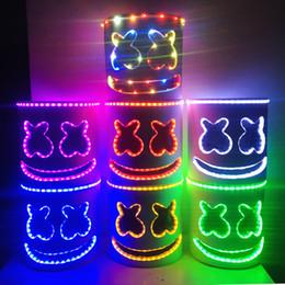 Volle kopfhelme online-LED Licht Marshmello Maske Cosplay DJ Musik Masken Disco Bar Party Requisiten Halloween Cosplay LED Luminous Full Head Helm