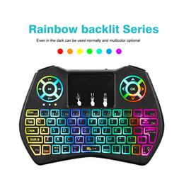 Tastatur bunt online-Mini Keyboard I9 Plus Bunte Hintergrundbeleuchtung Drahtlose Mini Tastatur Hintergrundbeleuchtung Air Mouse Fernbedienung Mit Touchpad I8 Für Android TV-Box