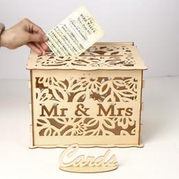 Cajas de tarjetas de felicitación online-L tamaño DIY caja de tarjeta de madera para suministros de boda Mr Mrs Card Case Check-in Box Caja de tarjeta de felicitación de boda de madera