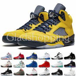 zapatos de camuflaje para mujer Rebajas 5s Michigan Black OG Men Womens Basketball Shoes 5 Bred Blue Suede Designer Baskets Camo Nuevo 2019 Chaussure De Basket Ball Entrenadores Zapatillas de deporte