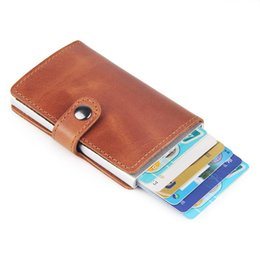 automatic coin Promo Codes - Brand Genuine Leather Wallet Men Aluminium Automatic Wallet Bussiness Blocking Automatic Pop Up