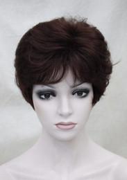 Parrucca borgogna miscela online-Parrucca sintetica quotidiana da donna Wig Dark Burgundy Mixed Short da donna