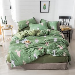modern king beds Coupons - Home Textile Cactus Bedding Set Green Bed Cover Bed Sheets Set Linen Bedspread Plants Bedding Kids Modern Simple