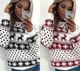 Damen hirsch pullover online-Uguest Frauen Pullover O-Ansatz lange Hülsen-Winter-Weihnachts Sweater Deer Pullover Tops Mantel Damen der Frauen Warm Kurz Pullover