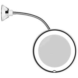 Lampes à ventouse en Ligne-Miroir de maquillage éclairé par LED avec ventouse 360 degrés 10X grossissant mur montage vanité miroir mode pour salle de bains