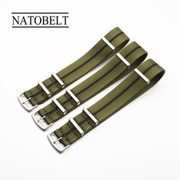 blue nato strap Promo Codes - New 20 22mm Army Sports Nato Fabric Nylon Watchband Accessories Bands Buckle Belt For 007 James Bond Watch Strap Green Black
