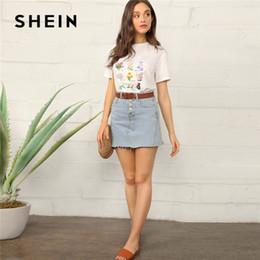 08493bc236 SHEIN Botanical Floral Print Short Sleeve T Shirt Women Casual Round Neck  Regular Summer Top 2019 Streetwear Basic White