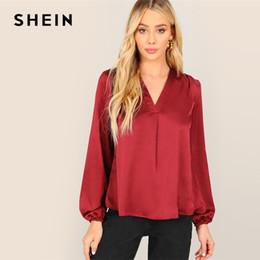 97130b416 2019 blusas color burdeos SHEIN Burdeos Elástico Cuff V-placket Blusa  superior de satén Mujeres