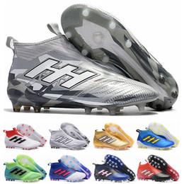 Carregadores de futebol on-line-Ace 17 + Purecontrol Primeknit chuteiras de futebol ao ar livre taquets Chuteiras Chuteiras da terra firme FG NSG Mens Futebol Botas de Futebol Sapatos de Ouro
