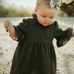 Vestidos de tutú verde online-Autumn Baby Girl Princess Dress Tres Cuartos Sólido Verde Del Ejército de Manga Ruffle Cuello alto Ruffle Tutu Vestido Ropa de Niñas 0-4Y BY0669