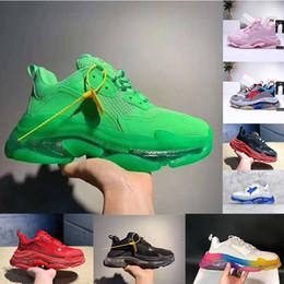 Zapatos de los hombres de la vendimia online-Mujeres Hombres Papá de lujo Zapatos casuales Zapatos con fondo de cristal Triple-S Ocio Zapatillas de deporte para hombres Vintage Old Grandpa Trainer chaussures WITH BOX