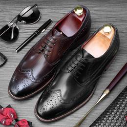 Ботинки для крыльев ручной работы онлайн-Новый урожай ручной работы человек свадебная обувь из натуральной кожи платье Wingtip Brogue круглый носок формальный дизайнер мужской партии квартиры SS352