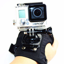 Correa de muñeca giratoria de la cámara de envío gratuito Guante de estilo de guante de 360 grados Soporte de correa de montaje manual para GoPro Hero 4 3+ 3 2 1 Negro de gran tamaño desde fabricantes