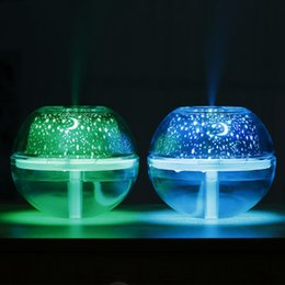 Lámparas de niebla led online-USB Cristal Lámpara Nocturna Proyector 500 ml Humidificador de Aire de Escritorio Difusor de Aroma Ultrasónico Mist LED Luz de Noche para el hogar ZZA388