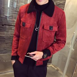 Chaqueta de piel de color caqui de los hombres online-2018 Winter Bomber Homme Men Suede Jacket Erkek Khaki Thick Warm Slim Fit Chaqueta de invierno Deri Ceket Abrigos Mens Fur Collar