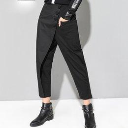 Canada Nouvel automne hiver noir lâche taille haute plat taille élastique femmes mode marée jambe large pantalon cheap ankle pants flats Offre