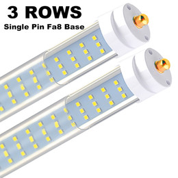 """96 tubo condotto online-Lampada a LED 8-25PCS-T8 T12, copertura trasparente 120W 6000K, LED a 3 file da 96 """", base FA8 a pin singolo, sostituzione LED da 8 piedi per apparecchi fluorescenti a 8 piedi"""