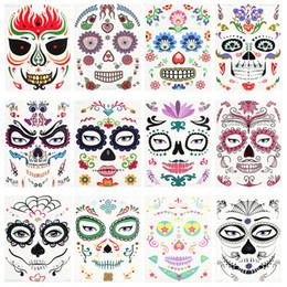 Tatuaggio per natale online-Halloween Party di Natale Sticker Viso impermeabile ambientale Props Stage Art Sticker trucco Pretty Face Tattoo Stickers RRA2125