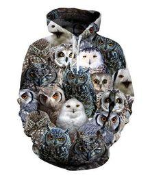 Pullover di gufo online-Stampa New Fashion Uomo Donna Designer Perfect Harajuku Style Owl 3D Stampa manica lunga con cappuccio Casual Sportswear RW046