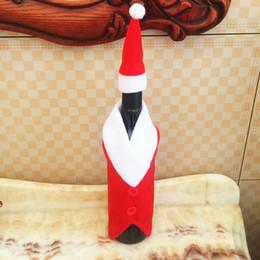 2019 glitterband großhandel rot Weihnachtsdekoration Rotweinflasche Abdeckung Kleidung mit Hut für Neuheit Weihnachten Bierflasche Hülse Weihnachtsessen Party Geschenk DBC VT0299