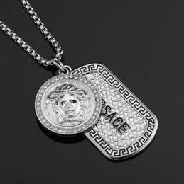 charme triangle de cuivre Promotion Mens Hip Hop Designer Bijoux Glacé Sur Argenté Plaqué De Mode Bling Bling Tête De Lion Pendentif Hommes Collier