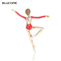 2019 broches de menina de dança Blucome Trendy Dancing Girl Broches Liga Esmalte Acessórios Para As Mulheres Meninas Partido Banquete Terno Lapela Cachecol Saco Pinos Emblema Presente desconto broches de menina de dança