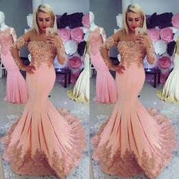 robe jaune d'or Promotion Dernières élégant sirène Blush rose robes de soirée rose manches longues pure bijou décolleté dentelle Applique perles Prom robes de soirée