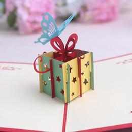Wholesale 3D Feliz Aniversário Presente Dos Namorados Dia Dos Namorados Cartões De Papel DIY Handmade Up Bênção Com Envelope Bolo Cartão De Saudação