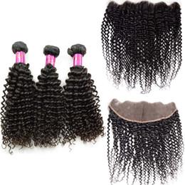 Cabelo kinky chinês on-line-Kinky encaracolado cabelo remy cambojano mongol pacotes com lace frontal encerramento 13x4 jerry curl chinês vietnamita virgem produtos de cabelo humano