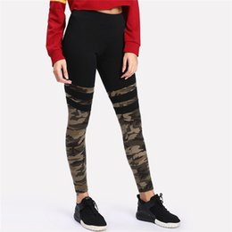 Leggings de camuflaje online-Moda Camo Costura Pantalones Deportivos Mujeres Fitness Leggings Pantalones Stretch Correr Verano Primavera diario Casual Leggings # 25A
